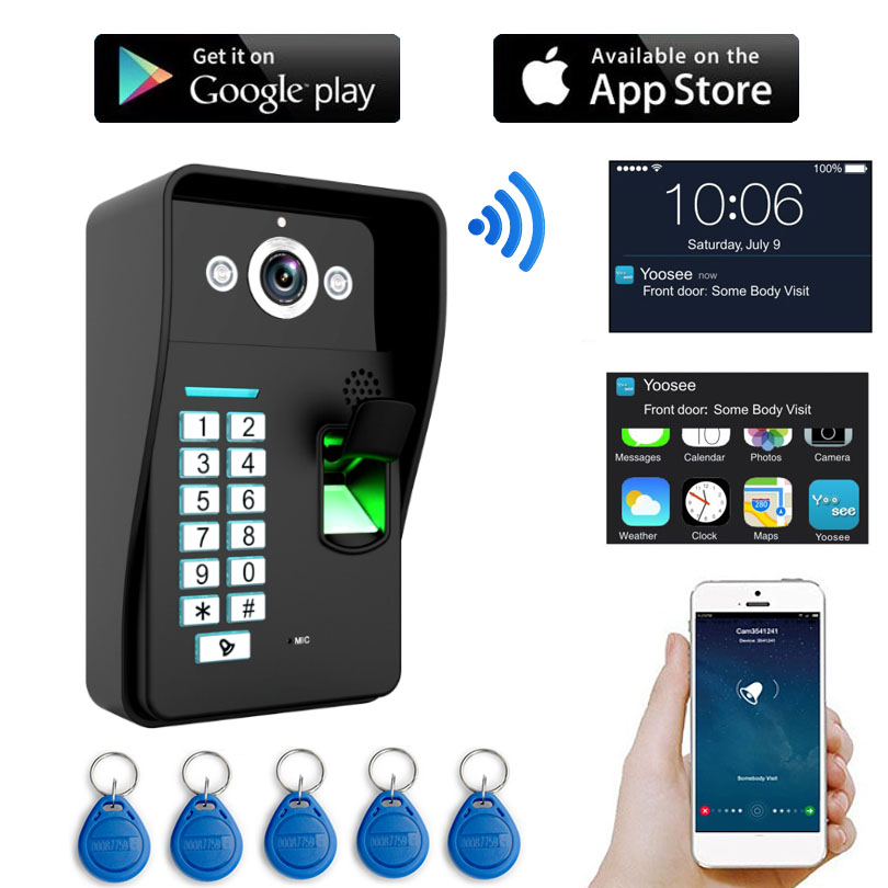 Wireless Wifi IP Digital 720P Camera Video Doorbell Door Phone Intercom RFID Keyfob Password Fingerprint Waterproof Night Vision