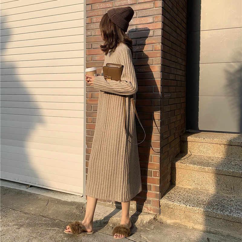 Femmes hiver basique longue robe pull col roulé à manches longues élégant couleur unie bref mince robes tricotées pulls