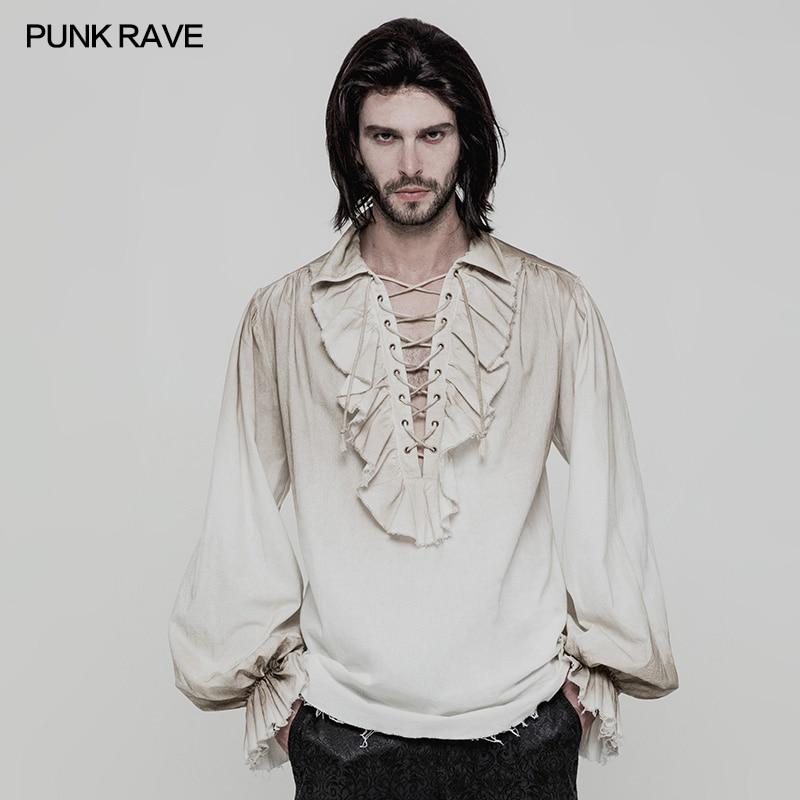 Noir blanc couleurs Punk Rave Steampunk gothique mode victorien hommes T petit haut vêtements WY873