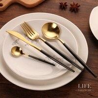 KTL 24 Adet Altın Çatal Düğün Yemek Seti Yemeği Forks Bıçaklar Scroops 18/10 Paslanmaz Çelik Siyah Altın Gümüş Set