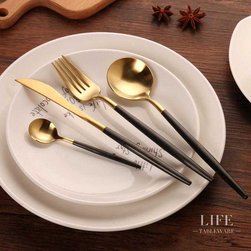 KTL 24 Pcs Golden Cutlery Wedding <font><b>Dinnerware</b></font> <font><b>Set</b></font> Dinner Forks <font><b>Knives</b></font> Scroops 18/10 Stainless Steel Black Gold Silverware <font><b>Set</b></font>