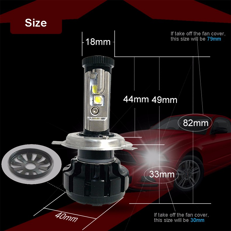 12000LM Super Bright Car LED Headlight Kit H4 HB2 9003 H13 9007 with Cree Chips Replace Bulb with Anti-Dazzle Beam 3000K 4300K 6000K (5)