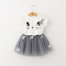 Kids Girls 2Pcs/Set Summer Cute Cat T-Shirts+Tutu Skirts Baby Girls Short Sleeve Cartoon Kitten Printed Girls Clothing(China)