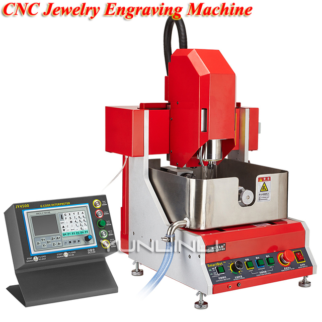 CNC Jewelry Engraving Machine 24000rpm 800w 4 Axis Electric Multifuction Jade Wax Silver Jewelry Carving Machine SMART