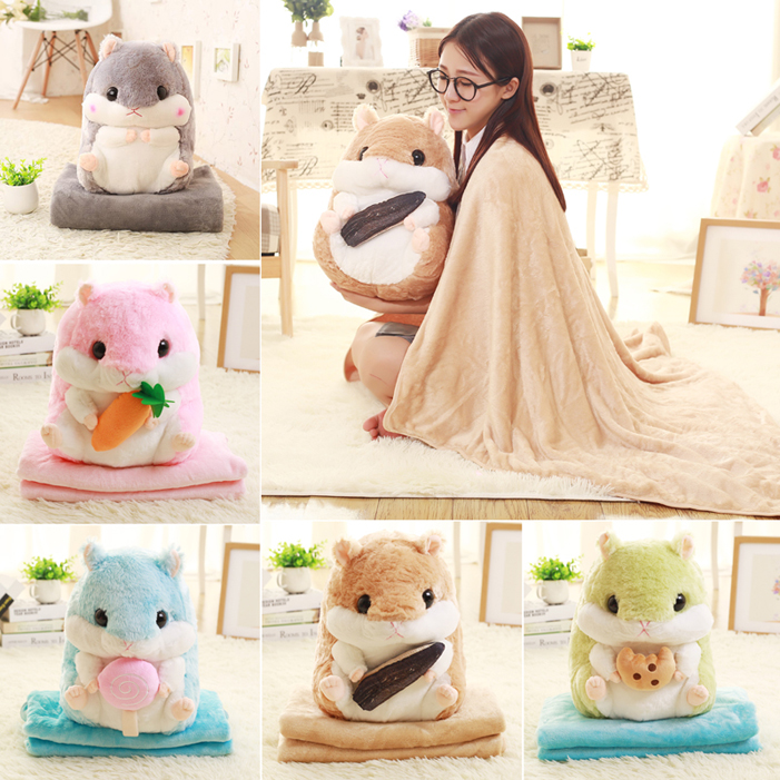 candice guo! super cute plush toy fat hamster hold Seed carrot Biscuit Lollipop cushion blanket nap pillow birthday gift 1pc