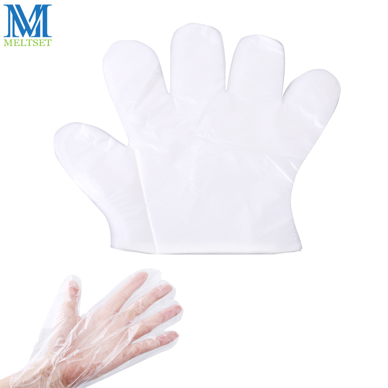 100pcs lot Disposable Plastic font b Gloves b font Transparent Barbecue Film font b Gloves b