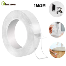 1M/3M Multifunctional Clear Nano Magic Tape Home Repair Double-sides Adhesive Tape Sticker Traceless PU Waterproof Reusable Tape 1x new 15mm 55m 0 13mm 3m 9495mp 200mp adhesive clear pet 2 sides sticky tape for soft led strip bond waterproof