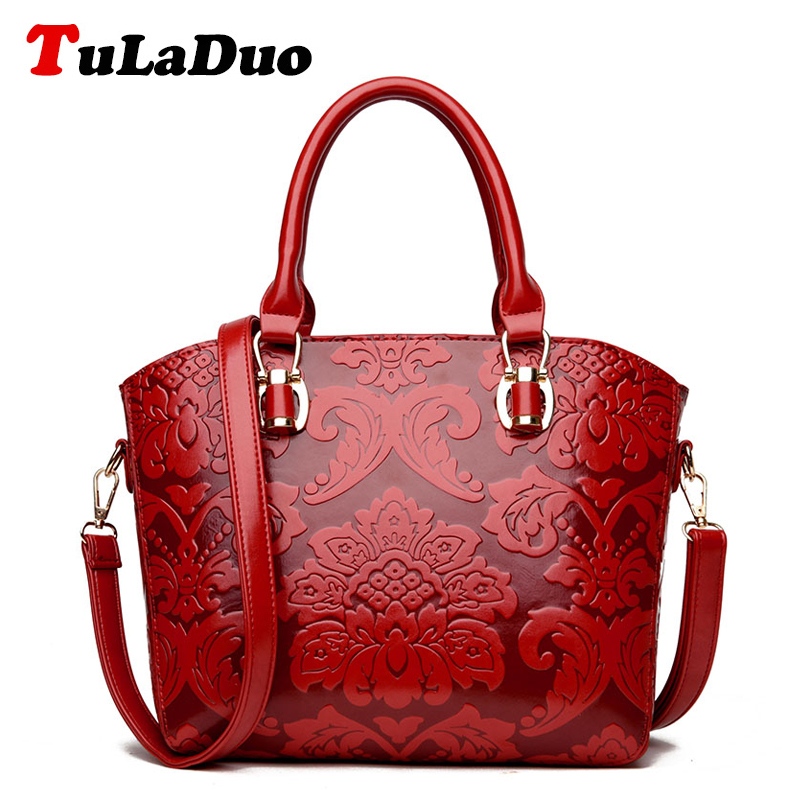f933d33813dc Embossed Fashion Leather Women Handbags 2018 Luxury Designer Women Bags  Brand Vintage Shoulder Bag Chinese Style Large Tote Bag