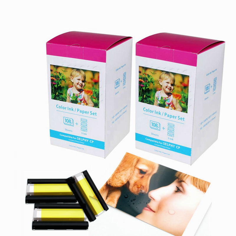 2 Pack Glossy 4x6 Photo Paper compatible KP-108IN 108 Sheets 3 Ink Cassette Canon SELPHY CP800 CP1200 Printing Paper