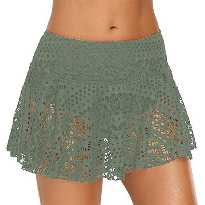 Summer Skirt Women Lace Crochet Floral Skirted Solid Bottom Swimsuit Short Skort Beach Swim Skirt Womens 2019 New