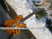 China OEM Benutzerdefinierte E-gitarre Mit Gelb Stepp Top Silber Hardware Guitarra Linkshänder Erhältlich Kostenloser Versand