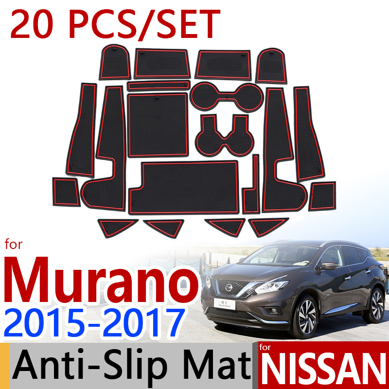 for Nissan Murano Z52 MK3 2015 2016 2017 Anti-Slip Rubber Cup Cushion Door Mat 20Pcs/Set Accessories Car Styling Sticker car floor mats for lhd nissan murano 3rd z52 2018 2017 2016 2015 2014 custom rugs auto interior pad mat accessories car styling