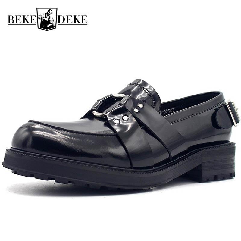 2019 New Designer Metal Buckle Mens Thick Platform Genuine Leather Formal Shoes Spring Slip On Office
