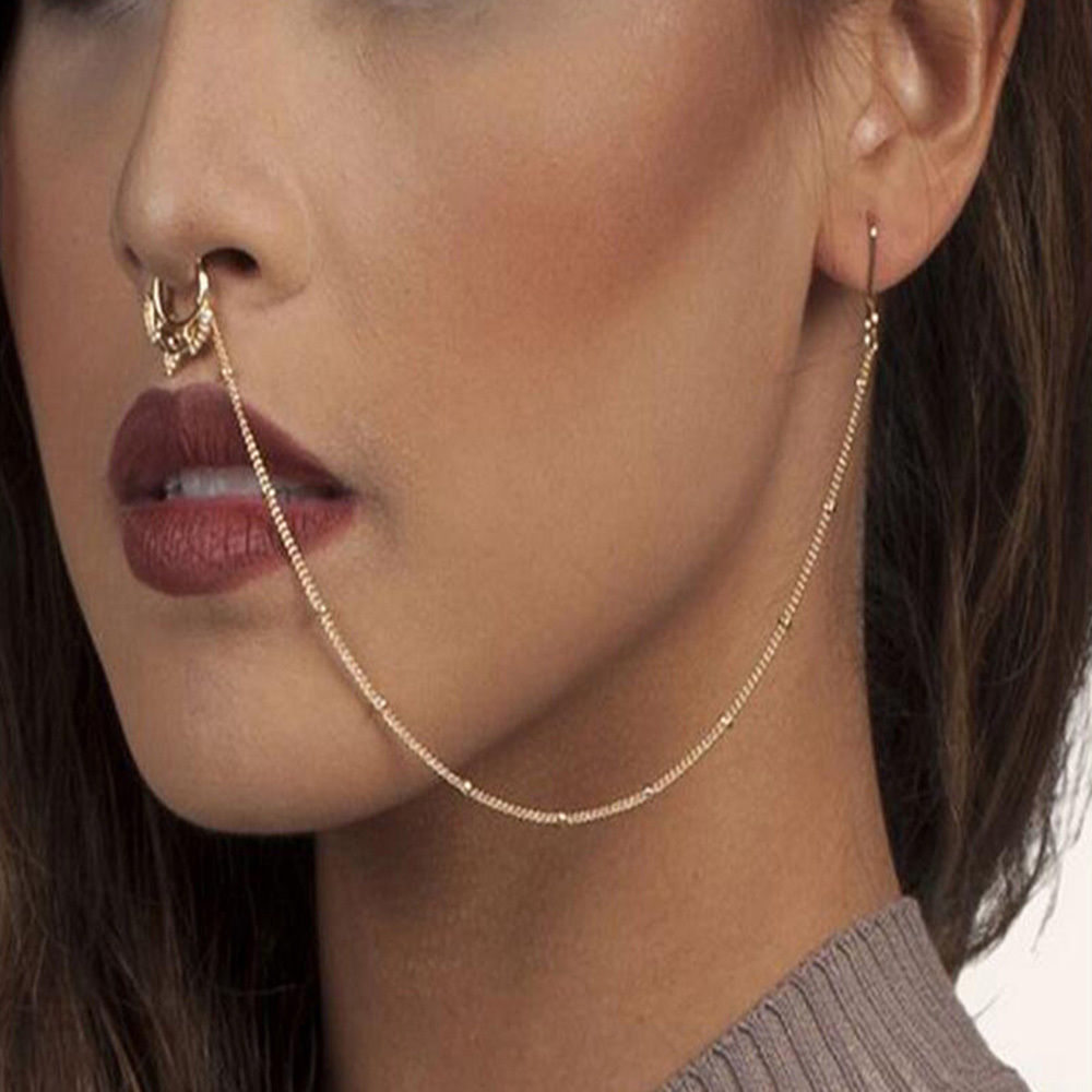 Crescent Swirls Setpum Ear to Nose Chain Non-Pierced Nose Ring Body Jewelry