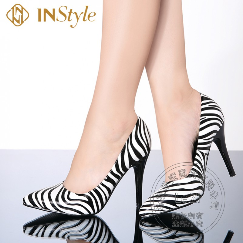 Temperament Shallow Mouth Striped Thin Heel font b Women b font Office Fashion Black And White