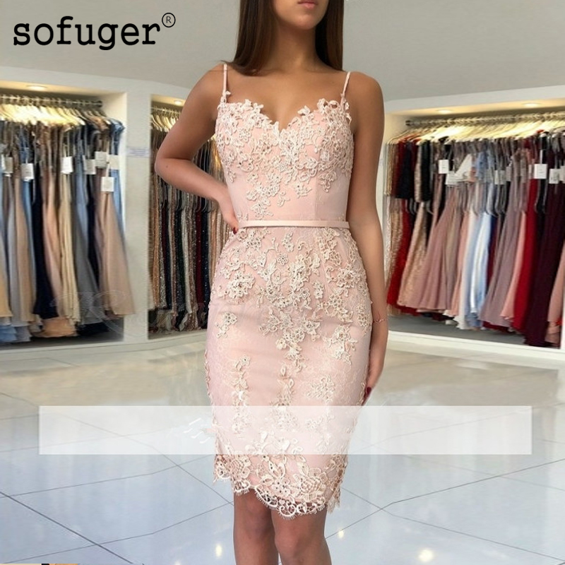 Elegant Cocktail Dresses Sheath 2019 Spaghetti Straps Appliques Lace Beaded Party Plus Size Homecoming Dresses