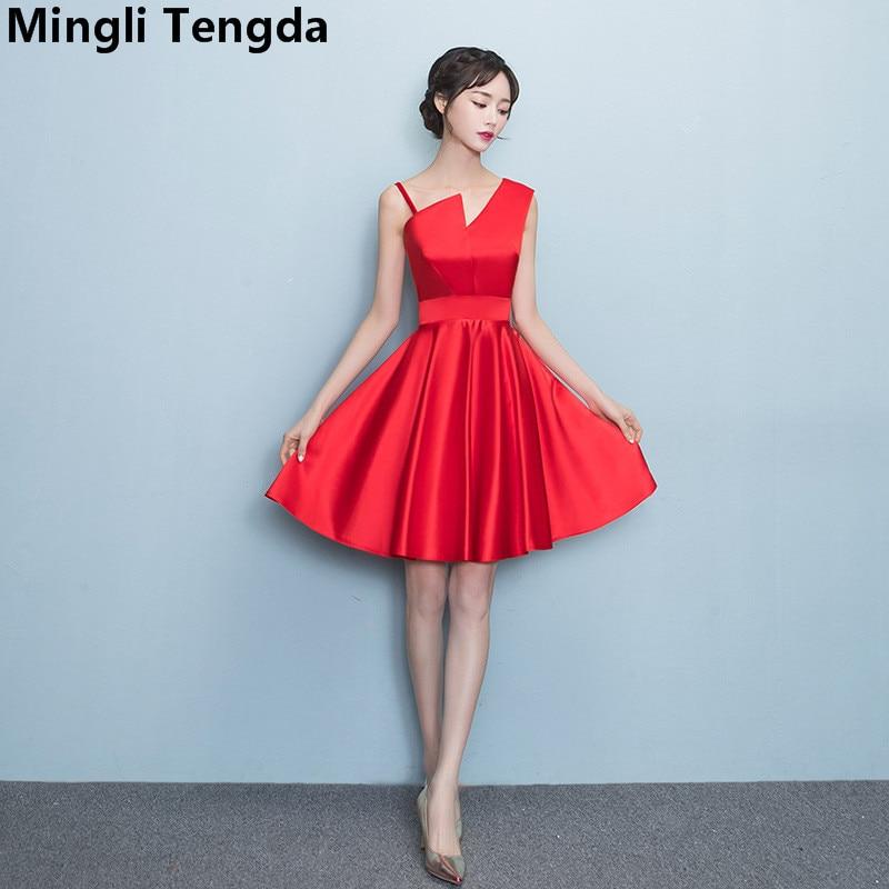 Mingli Tengda V-Neck Bridesmaid Dresses Short Red Satin One Shoulder Vestido Madrinha Casamento Longo Robe Demoiselle D'honneur