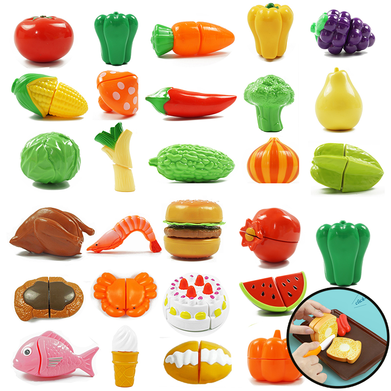Kids Toy Cut  Fruit Vegetable Food Kitchen Miniature Kitchen Cutting Sets Play House Toy Pretend Play Educational Toys For Gift