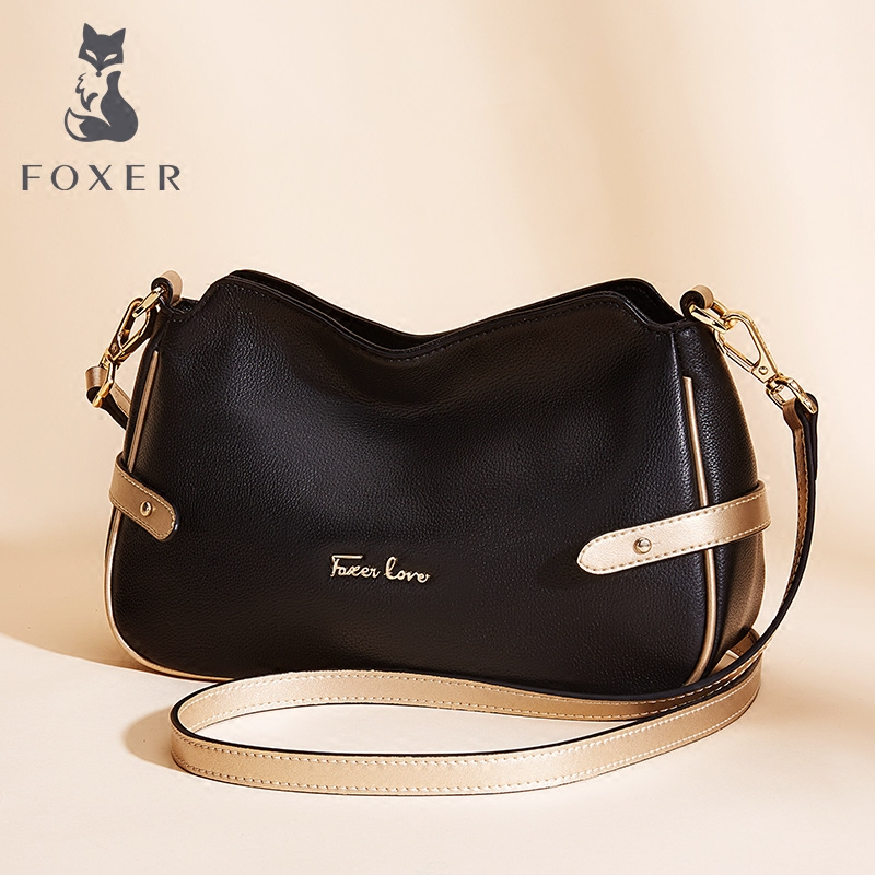 FOXER Brand Women Genuine Leather Shoulder Bag & Messenger Bags Fashion Small Bags For Female foxer shoulder