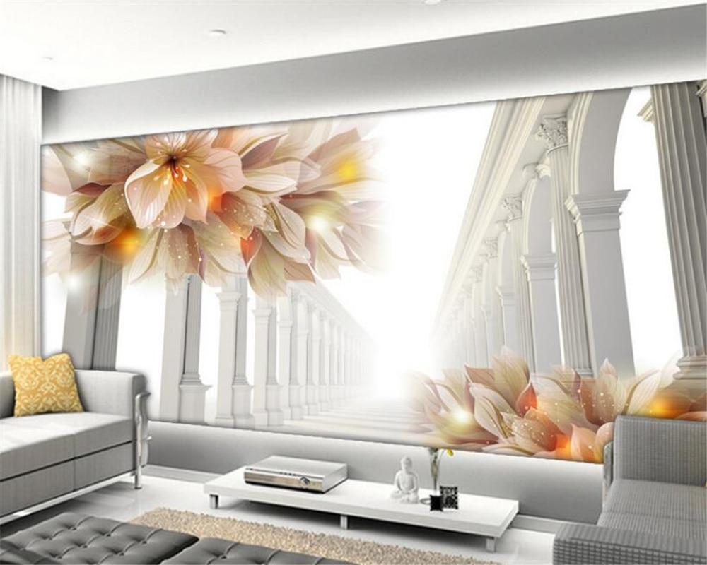living 3d murals tv background bedroom mural flowers wallpapers beibehang sofa zoom papel parede
