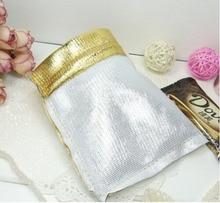 200 unids 7*9 cm bolso de lazo bolsas de mujer de la vendimia de oro para La Boda/Fiesta/de La Joyería/de la Navidad/bolsa de Envasado Bolsa de regalo hecho a mano diy