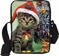 A moda do Teste Padrão do Gato Do Cão Do Natal Mulheres Mini Bolsas de Ombro Moda Messenger Bags Para Senhoras Meninas Mochila Bolsas de Viagem