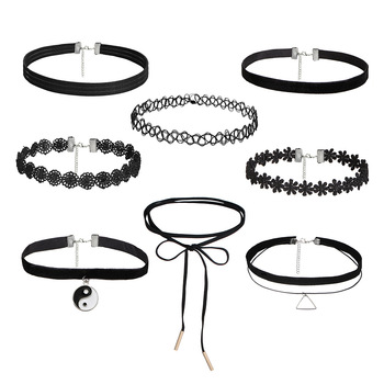 3 5 8 10 PCSSet New Gothic Tattoo Leather Choker Necklaces Set for Women Hollow Out Black Lace Necklace Jewelry Collier Chain gold earrings for women