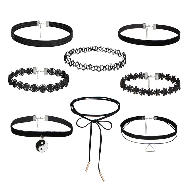 3 5 8 10 PCS/Set New Gothic Tattoo Leather Choker Necklaces Set for Women Hollow