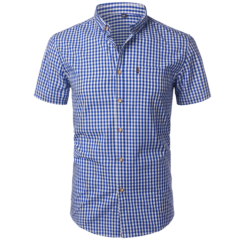 Small Plaid Shirt Men Summer New Short Sleeve Cotton Mens Dress Shirts Casual Button Down Chemise Homme Camisa Masculina 4XL