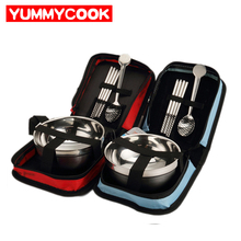 Outdoor Picnic Stainless Steel Dinnerware Sets Bowl Kit Travel Climbing Tableware Kitchen Dining Accessories Supplies