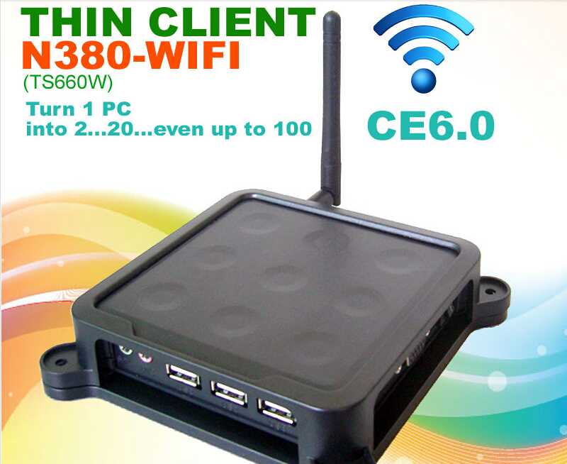 N380 with wifi Black Nine Dots WIFI MINI PC CE 6.0 Thin Client Flash XP 2000 Server 2003 Windows 7 or 8 Linux supported
