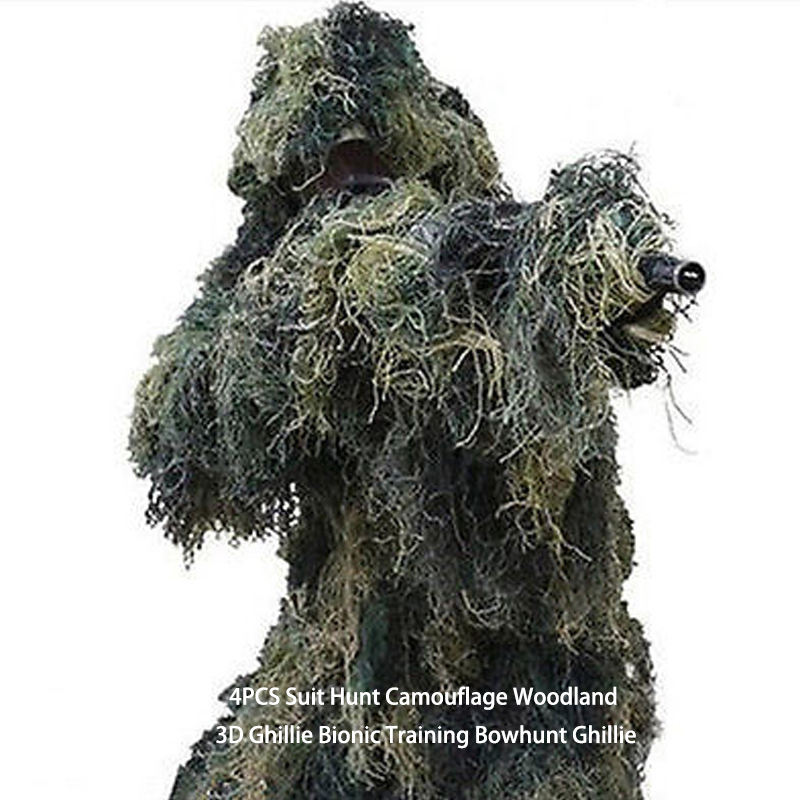 4 pièces Costume Chasse Camouflage Woodland 3D Ghillie Bionique Formation Bowhunt Ghillie
