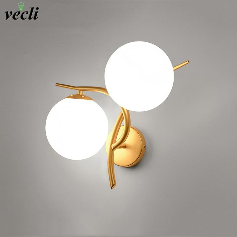 LED Wall Lamps Modern Simple Bedroom Sconce Light Indoor Living Room Corridor Lighting Bar Coffee Glass Ball Wall Lights E27 Bra