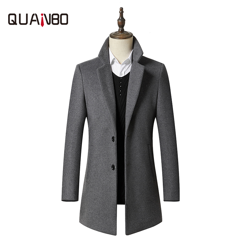 Coats Blend-Jacket Business Wool Single-Breasted Long Winter Thick Casual New Outwear