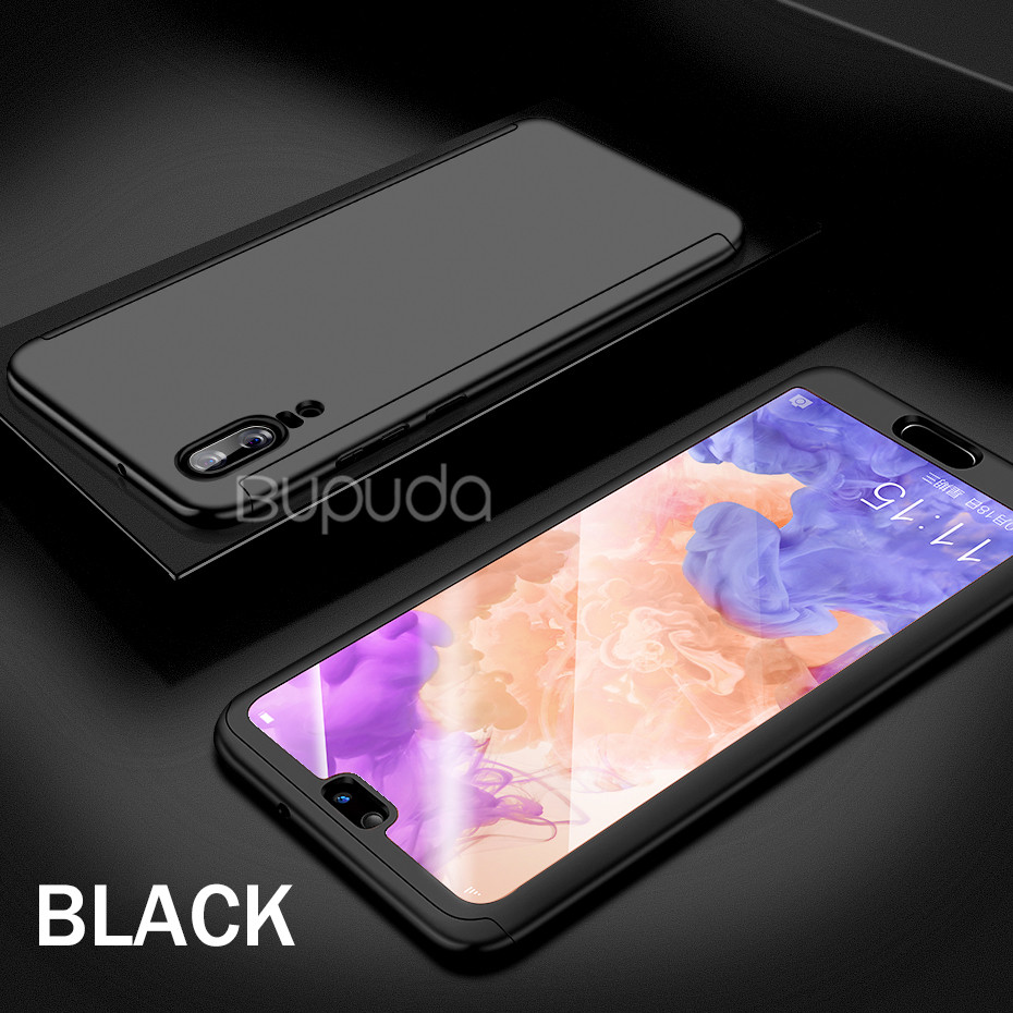 Bupuda Luxury 360 Full Protective Phone Cases For Huawei P20 Pro P20 Lite Cover Case For Huawei Mate 10 Pro Lite Case Glass Film