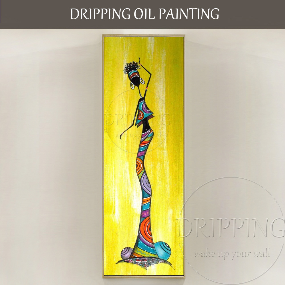 Unique Wall Art Pictures Artist Hand Painted Long Size Vertical Rectangle Oil Painting Abstract
