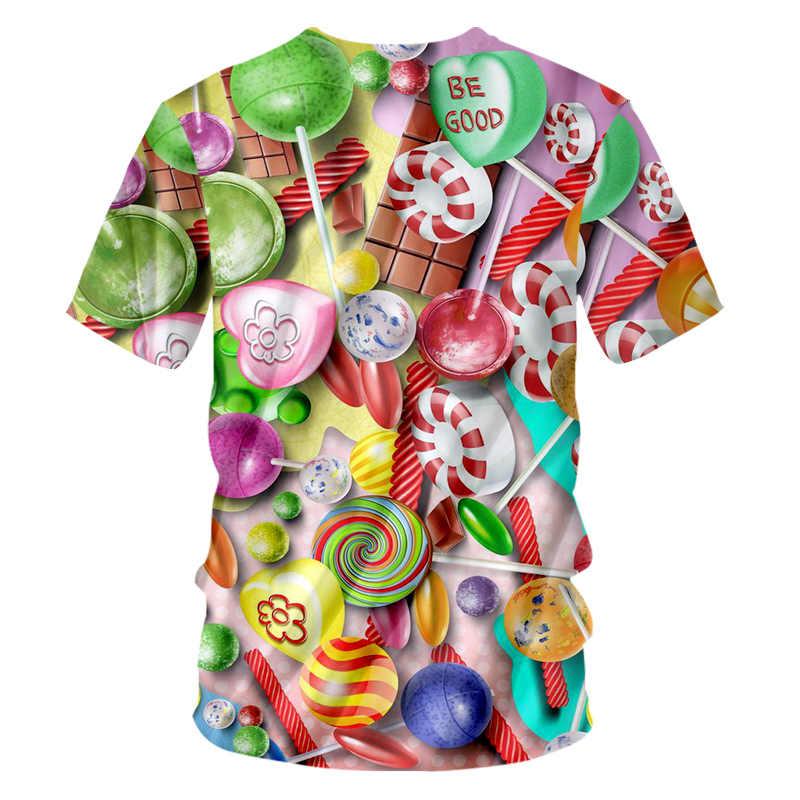 UJWI Мужская футболка с короткими рукавами 3D печать красочные конфеты Пара Одежда Лидер продаж мужская футболка с круглым вырезом цветной леденец