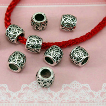 TJP 10pcs Tibetan Antique Silver Tone Big Hole Round Barrel Spacers Bead for Bracelets Necklaces DIY Jewelry Making Findings 9mm