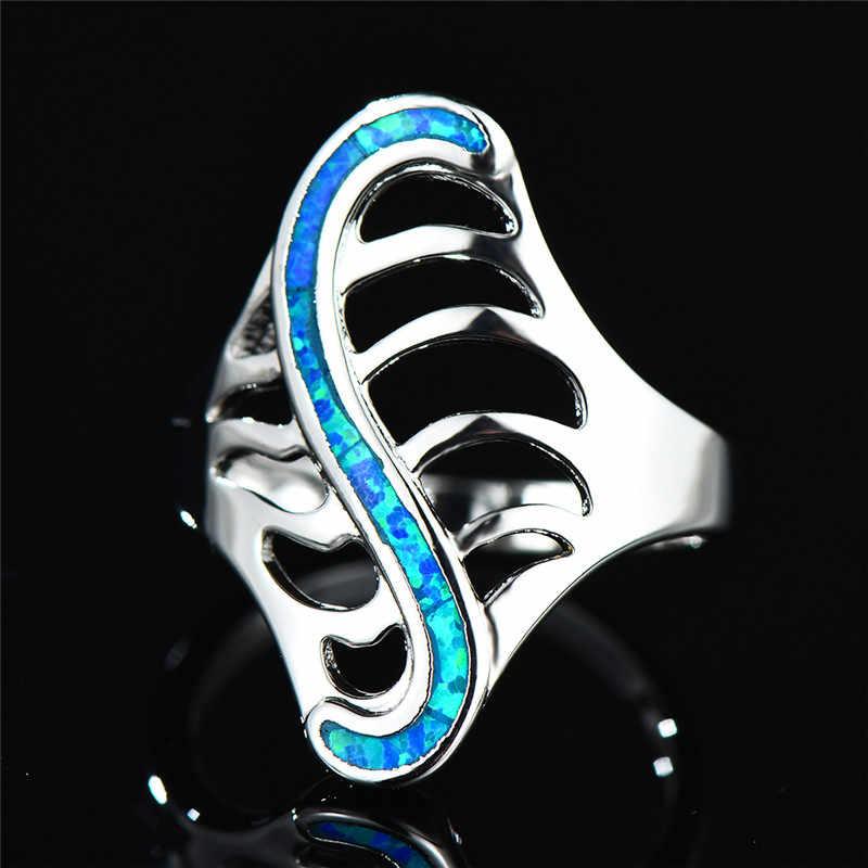 Boho סגנון S בצורת עצם טבעות לגברים נשים 925 כסף מלא כחול לבן אש אופל טבעת חלול עלה טבעות תכשיטים