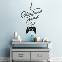 Hardcore Gamer Wall Sticker Gaming Joystick Vinyl Decal Teen Kids Room Decor Computer Games Removable Mural AY1382