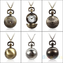 Min. 16 5 Colors Antique Retro Vintage Ball Metal Steampunk Quartz Necklace Pendant Chain Small Pocket Watch For Gift 02CU 3U8H