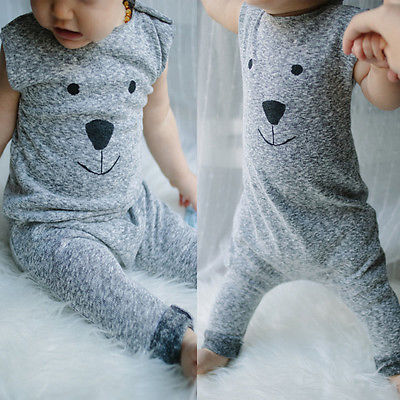 Toddler Newborn Baby Girls Boys Cartoon Fur Bear Knit Sleeveless Romper Playsuit Jumpsuit 1PCS Outfits Clothes puseky 2017 infant romper baby boys girls jumpsuit newborn bebe clothing hooded toddler baby clothes cute panda romper costumes