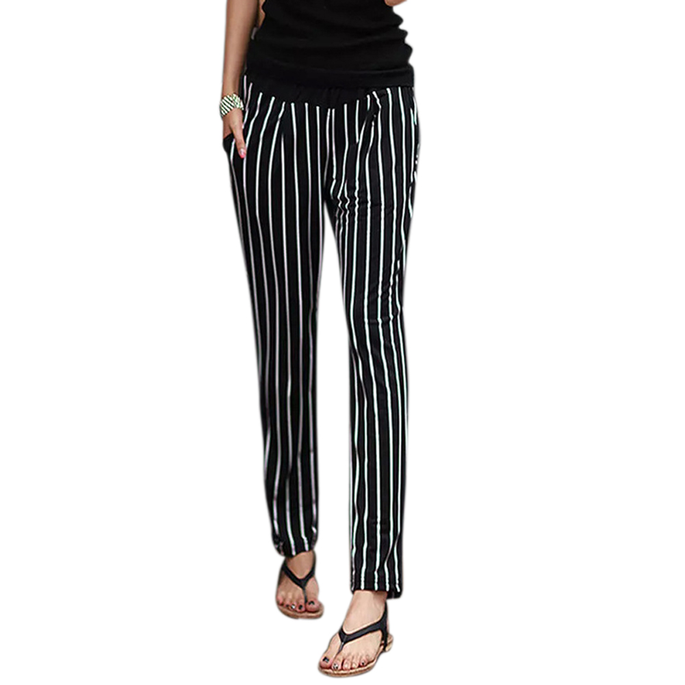Women Harem Pants Striped Loose Slim Fit Casual Mid-waisted Female Panties JL