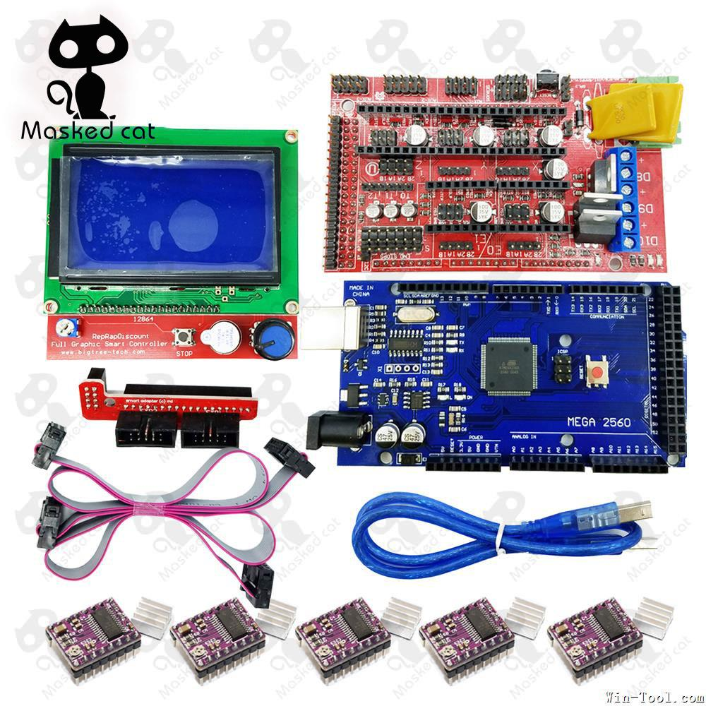 купить 3D Printer parts 1pcs Mega 2560 R3 +USB+ 1pcs RAMPS 1.4 Controller+1pcs LCD 12864 controller+ 5pcs DRV8825 Stepper Motor Drive онлайн
