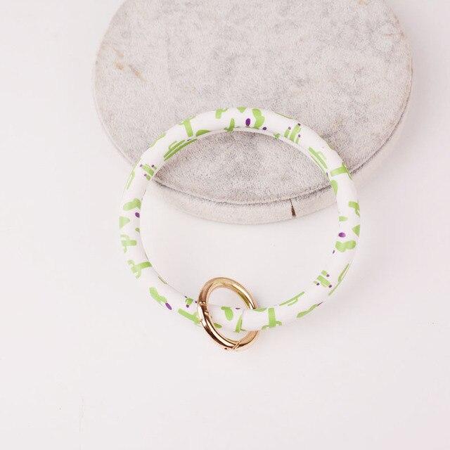 Rainbery New Fashion Monogram PU Leather O Custom Circle Wristlet Key chain 2