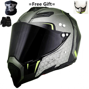 Mate black Dual Sport Off Road Motorcycle helmet Dirt Bike ATV D.O.T certified (M, Blue) full face casco for moto sport