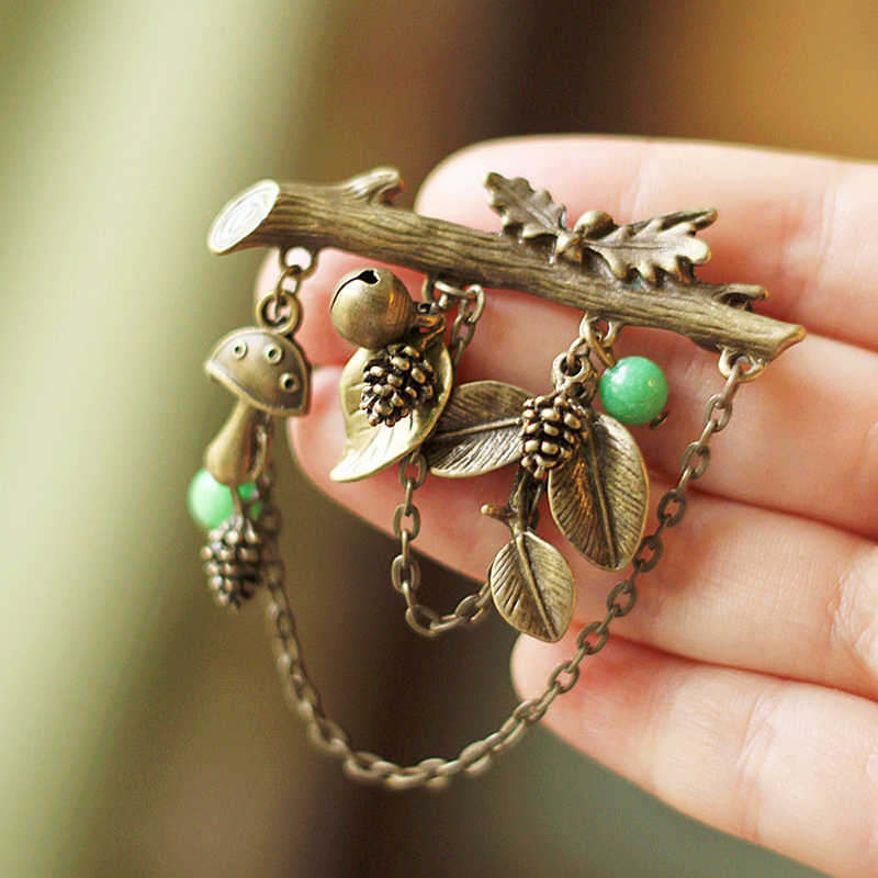 JUJIE Vintage Original Tree Brooches For Women 2019  Antique Gold Gorgeous Brincos Leaf Brooch Pins Plant Jewelry Dropshipping