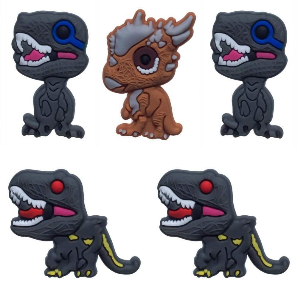 5PCS Dinosaur PVC Shoe Charms Unicorn Shoe Buckle Accessories For Croc Decoration For Bracelets With Holes