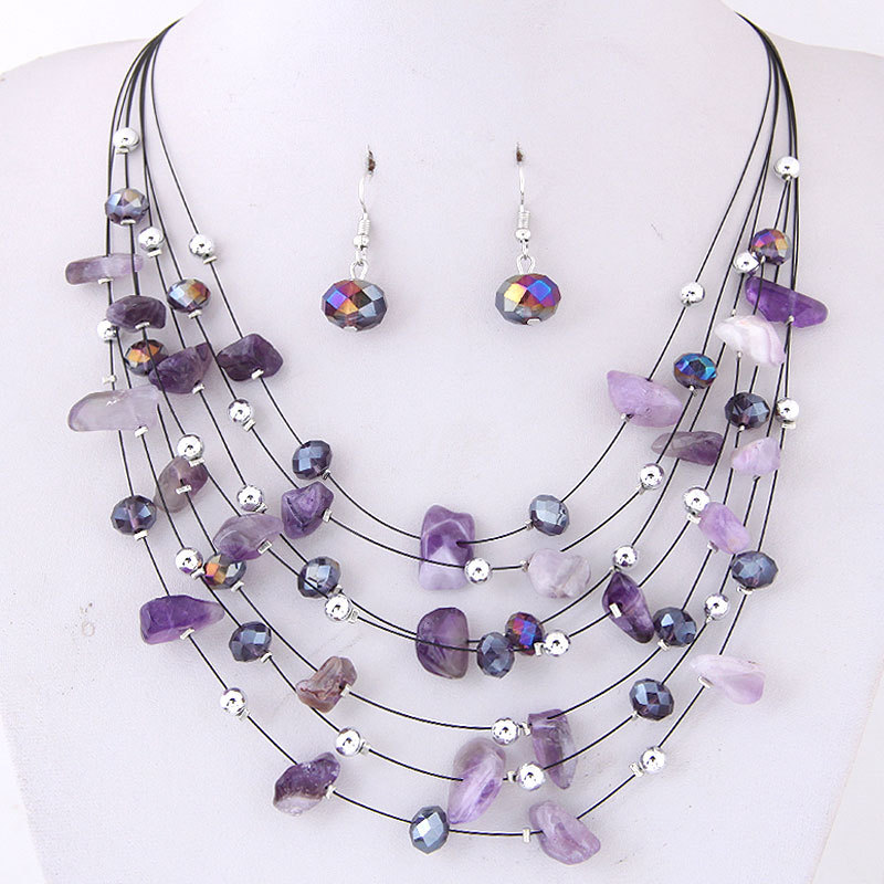 KMVEXO Bridal Wedding Jewelry Sets Women Charm Purple Crystal Coral Necklace Earrings Set African Beads Jewelry Set Bijoux Femme in Jewelry Sets from Jewelry Accessories