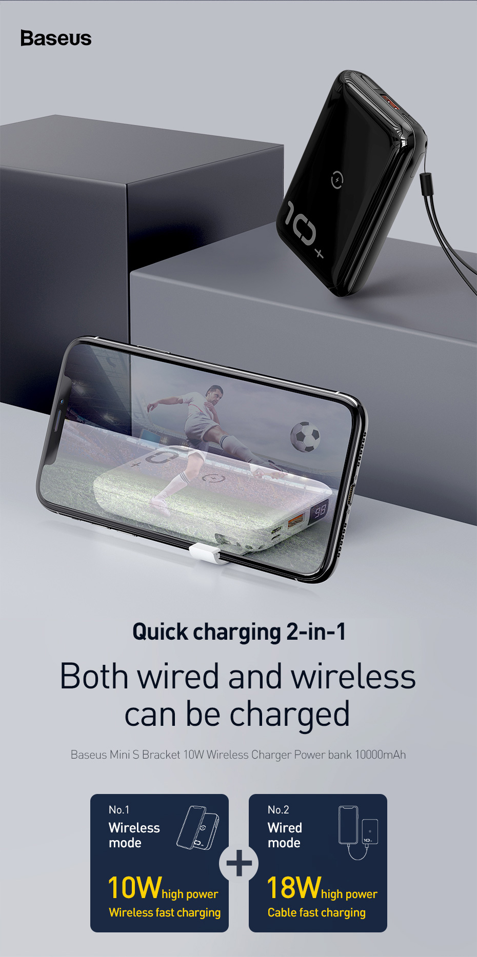 Baseus 10000mAh Qi Wireless Charger Power Bank for iPhone Samsung Huawei Powerbank PD Quick Charge 3.0 Portable External Battery 3